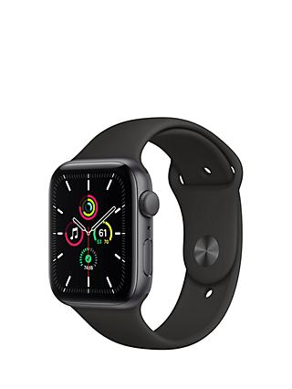 Apple Watch SE GPS, 44mm Space Grey Aluminium Case with Black Sport Band - Regular