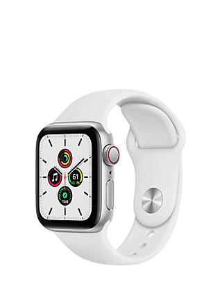 Apple Watch SE GPS + Cellular, 40mm Silver Aluminium Case with White Sport Band - Regular