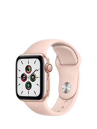 Apple Watch SE GPS + Cellular, 40mm Gold Aluminium Case with Pink Sand Sport Band - Regular