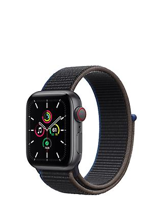 Apple Watch SE GPS + Cellular, 40mm Space Grey Aluminium Case with Charcoal Sport Loop