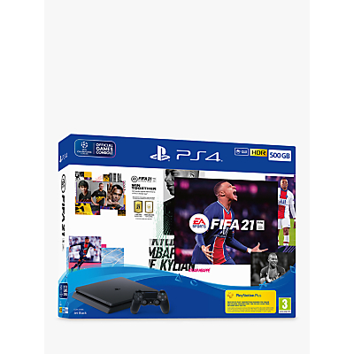 Sony PlayStation 4 Slim Console with DUALSHOCK 4 Controller, 500GB, Jet Black and FIFA 21 game