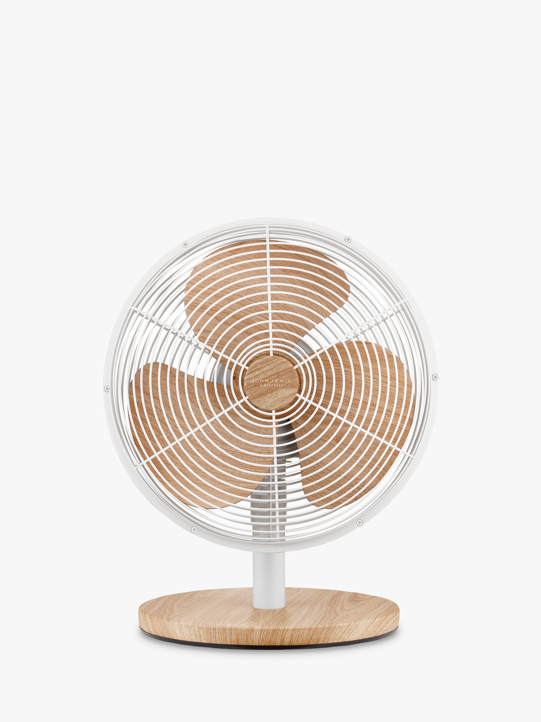John Lewis & Partners Desk Fan, 12 inch, Oak Effect/White
