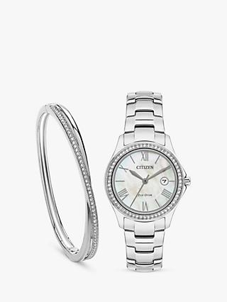 Citizen FE1141-83D SET Women's Silhouette Eco Drive Date Bracelet Strap Watch and Double Bangle Gift Set, Silver