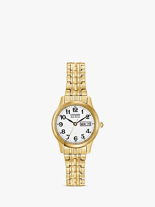 Citizen EW3152-95A Women's Expansion Eco-Drive Day Date Bracelet Strap Watch, Gold/White