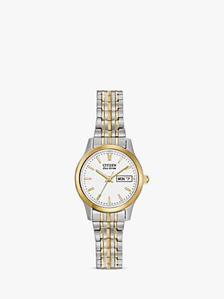 Citizen EW3154-90A Women's Expansion Eco-Drive Day Date Bracelet Strap Watch, Silver/Gold