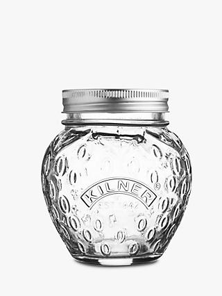 Kilner Screw Top Strawberry Preserve Glass Jam Jar, 3 x 400ml, Clear