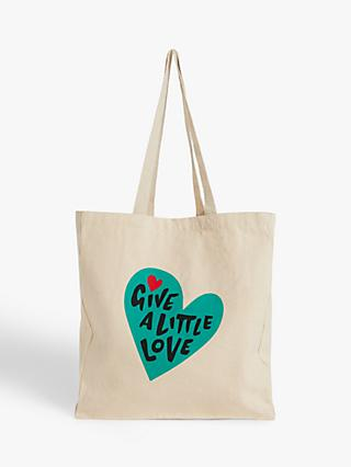 Give a Little Love Cotton Tote Bag, Natural/Teal