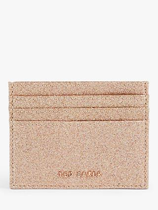 Ted Baker Bbblake Leather Glitter Card Holder, Rose Gold