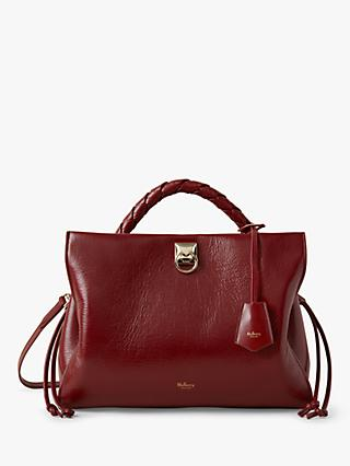Mulberry Iris High Shine Leather Shoulder Bag, Crimson