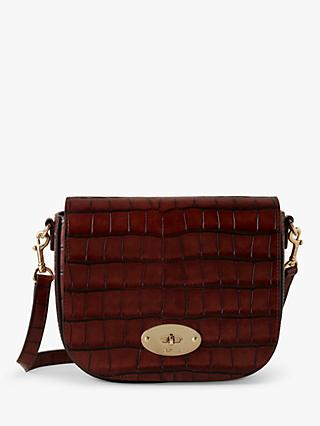 Mulberry Small Darley Vintage Croc Print Leather Satchel Bag, Cognac