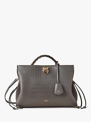 Mulberry Iris Suede & Soft Printed Croc Leather Shoulder Bag, Charcoal