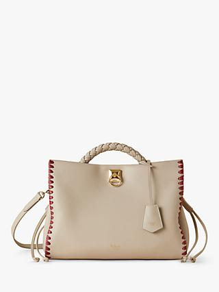 Mulberry Iris Heavy Grain Leather Braided Edge Shoulder Bag, Chalk