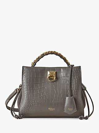 Mulberry Suede & Soft Printed Croc Leather Shoulder Bag, Charcoal