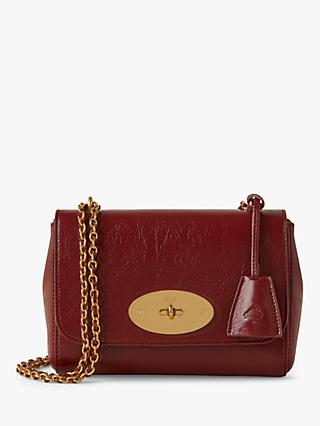 Mulberry Lily High Shine Calf Leather Shoulder Bag, Crimson