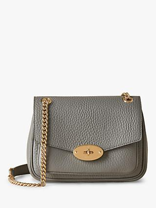 Mulberry Mini Darley Heavy Grain Leather Shoulder Bag, Charcoal