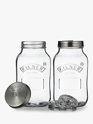 Kilner Screw Top Fermentation & Pickling Glass Jars, Set of 2, 1L, Clear