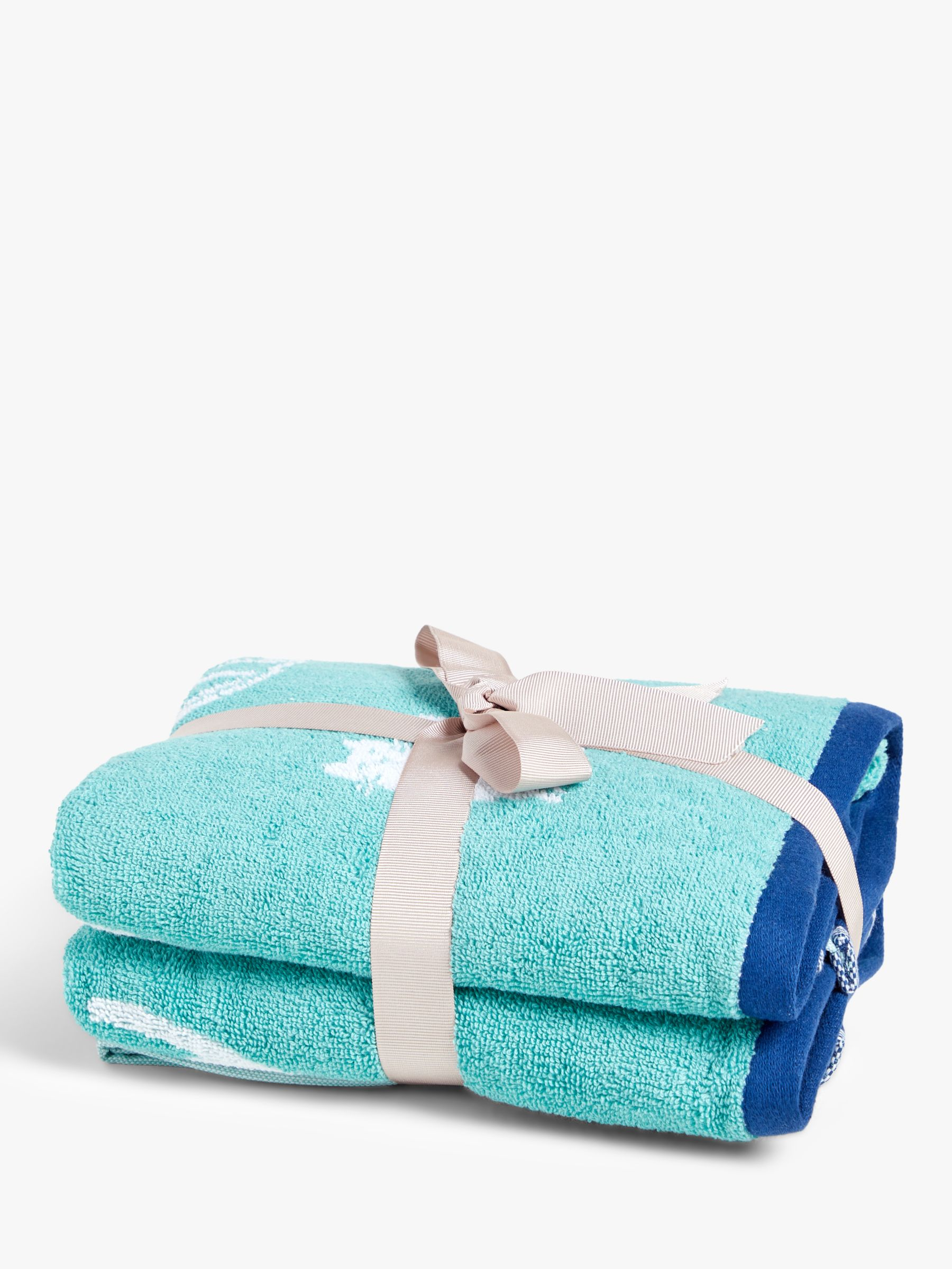 ANYDAY John Lewis & Partners Cats Hand Towels, Pack of 2, Blue