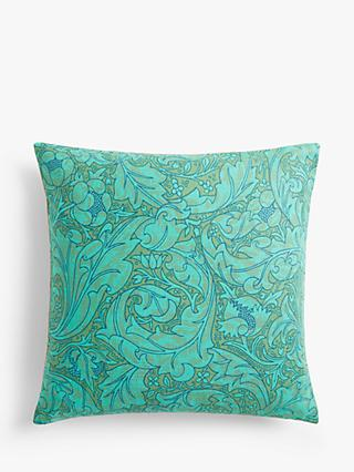 Morris & Co. Bachelor's Button Cushion, Olive / Turquoise