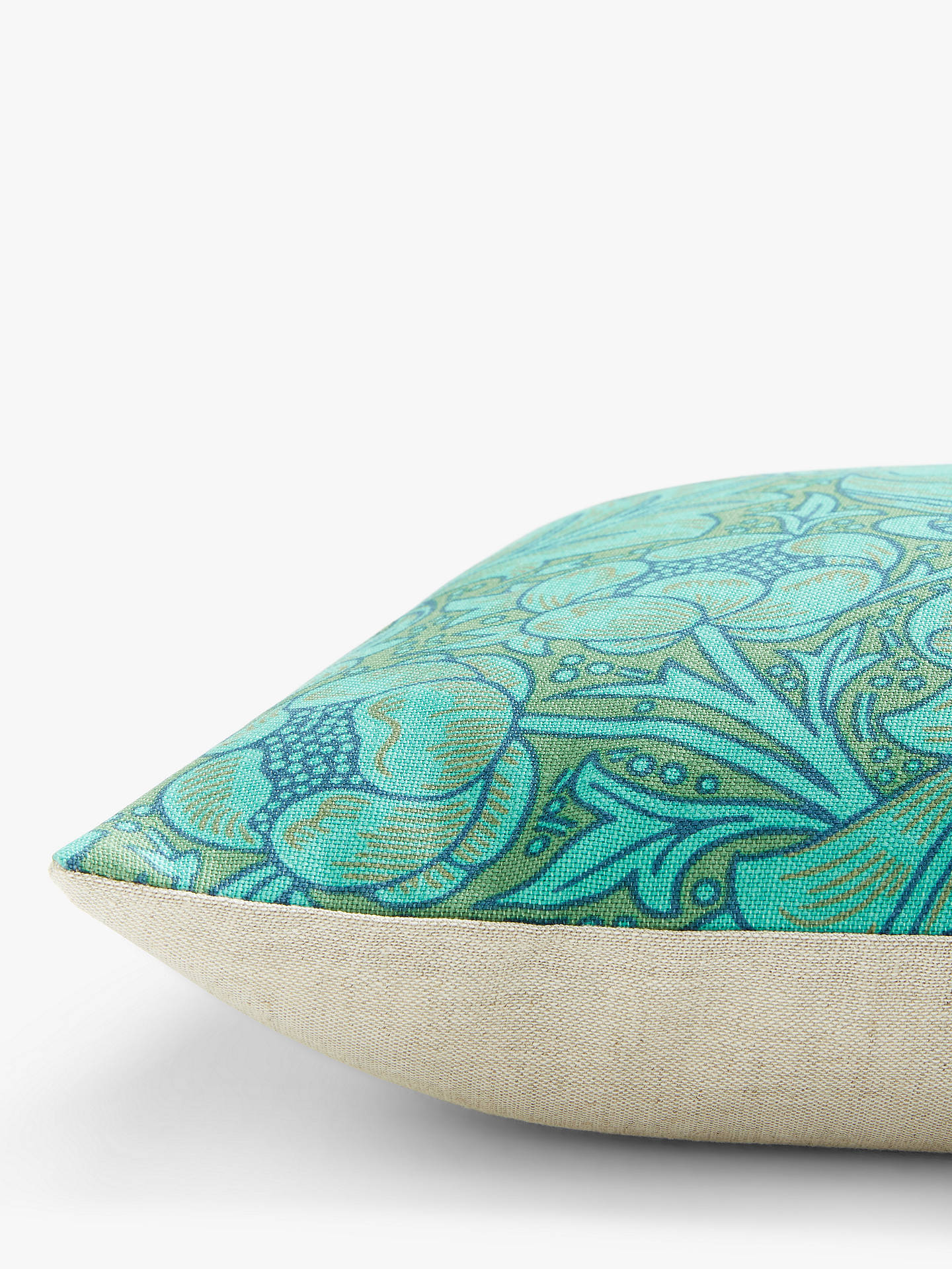 Buy Morris & Co. Bachelor's Button Cushion, Olive / Turquoise Online at johnlewis.com