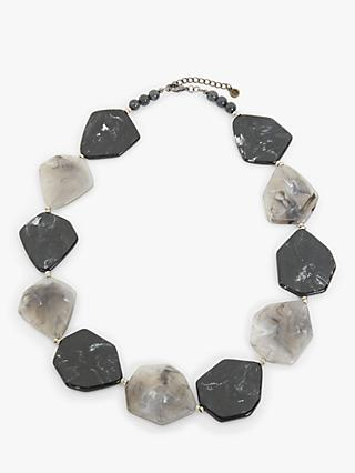 One Button Faceted Bead Statement Necklace, Black/Grey