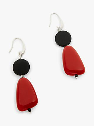 One Button Double Drop Hook Earring, Dark Red/Black