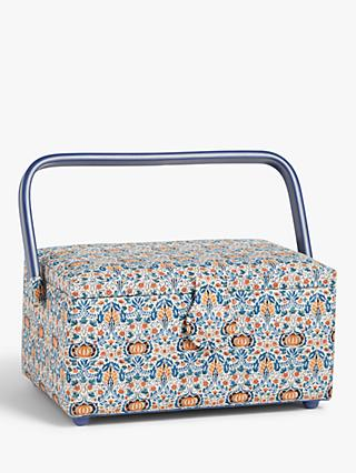 John Lewis & Partners Morris Montague Print Rectangular Sewing Basket, Blue