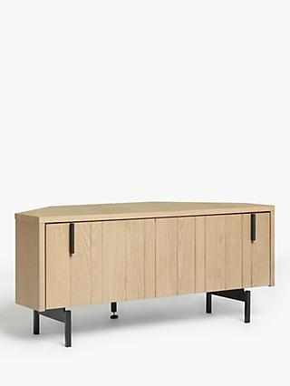 "John Lewis & Partners Stave Corner TV Stand for TVs up to 46"", Natural"