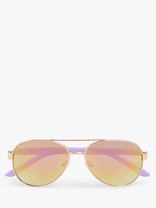 John Lewis & Partners Children's Aviator Sunglasses, Purple/Gold