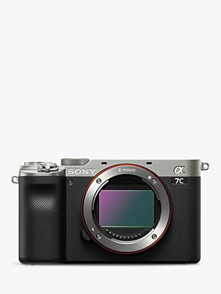 "Sony a7C (Alpha ILCE-7C) Compact System Camera, 4K Ultra HD, 24.2MP, Wi-Fi, Bluetooth, NFC, OLED EVF, 5-Axis Image Stabiliser & Vari-angle 3"" LCD Touch Screen, Body Only, Silver"