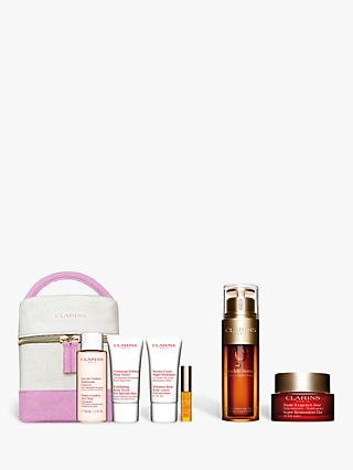 Clarins Double Serum and Super Restorative Day Cream Bundle with Gift