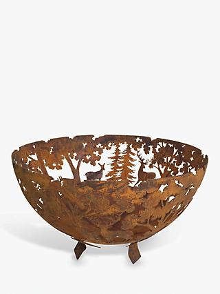 Fallen Fruits Woodland Steel Firepit Bowl, Rust Bronze