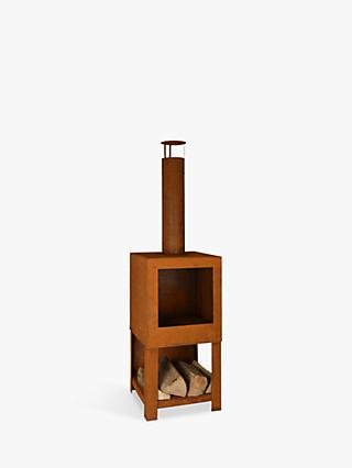 Fallen Fruits Square Steel Chiminea Firepit with Log Storage, Rust Bronze