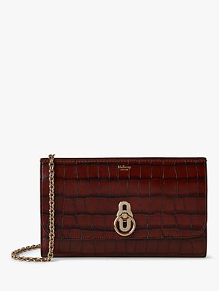 Mulberry Amberley Matte Croc Leather Clutch Bag