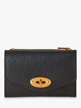 Mulberry Darley Small Classic Grain Leather Folded Multi-Card Wallet, Black