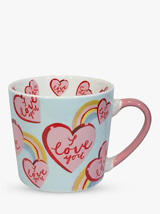 Eleanor Bowmer 'I Love You' Hearts Mug, 300ml, Pink/Multi