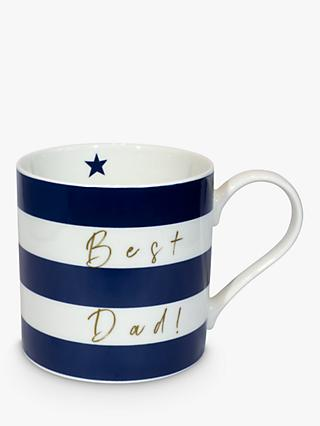 Belly Button Designs Best Dad Striped Mug, 350ml, Navy