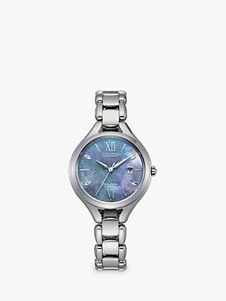 Citizen EW2560-86X Women's Date Mother of Pearl Bracelet Strap Watch, Silver/Blue