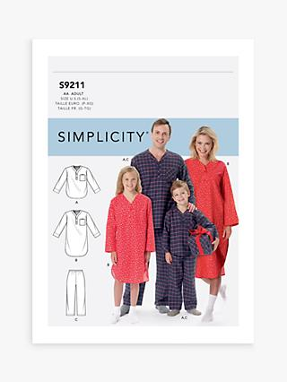 Simplicity Unisex Sleepwear Sewing Pattern