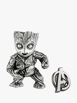 Royal Selangor Mini Groot Figurine and Avengers Insignia Lapel Pin Set