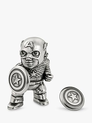Royal Selangor Mini Captain America Figurine and Lapel Pin Set