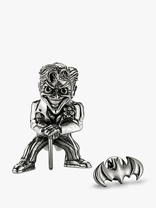 Royal Selangor Mini The Joker Figurine and Batman Lapel Pin Set