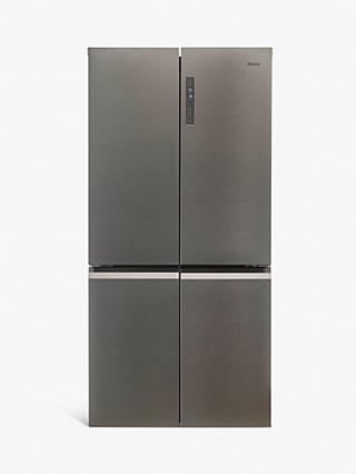 Haier HTF-540DP7 Freestanding 60/40 American Fridge Freezer, Steel