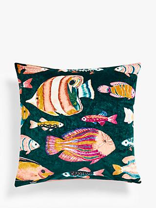 John Lewis & Partners Velvet Fish Cushion, Multi