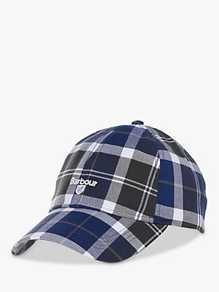 Barbour Tartan Cotton Baseball Cap, One Size, Blue