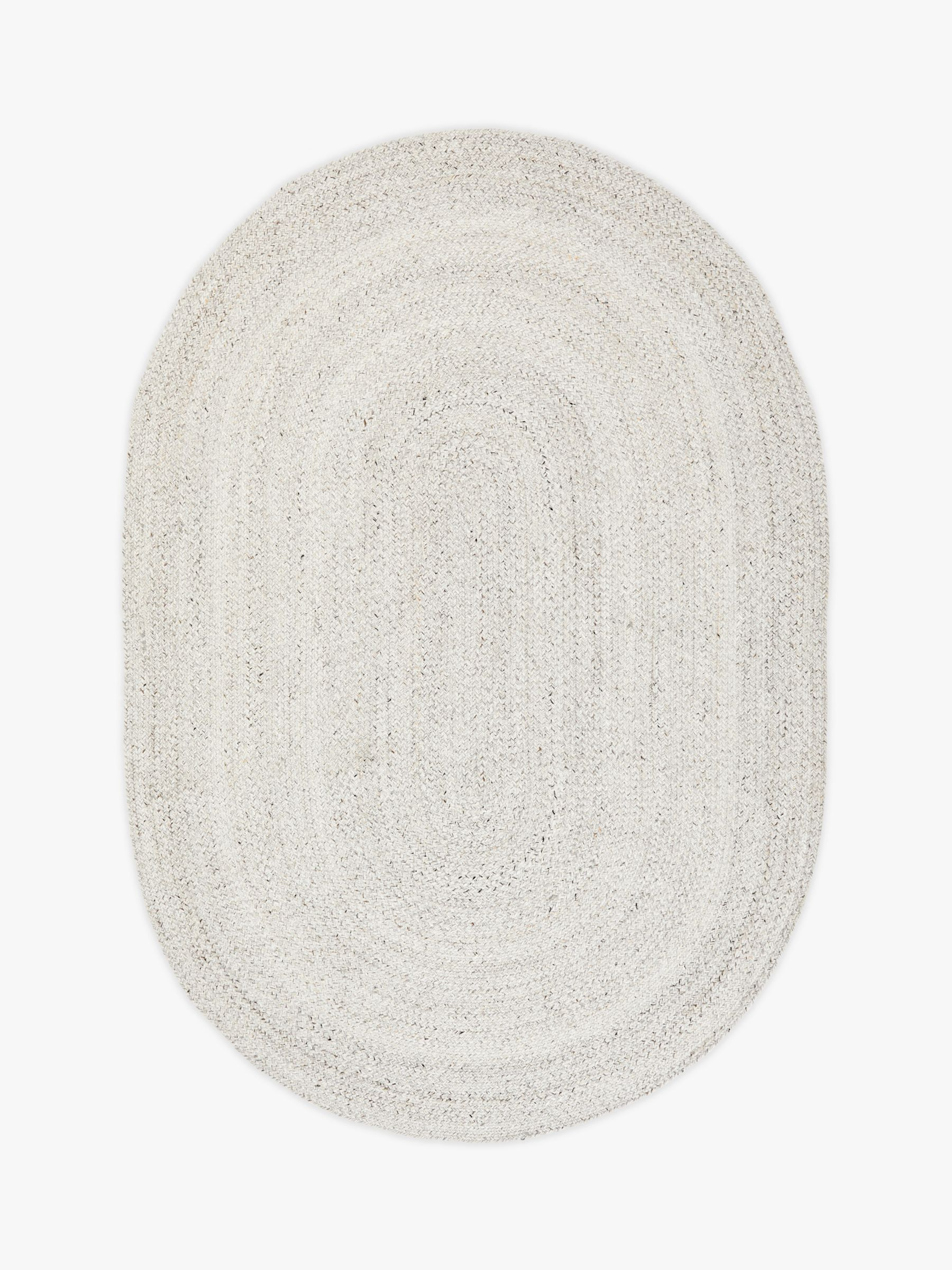 John Lewis & Partners Indoor & Outdoor Braided Oval Rug, Marl Grey, L240 x W170 cm