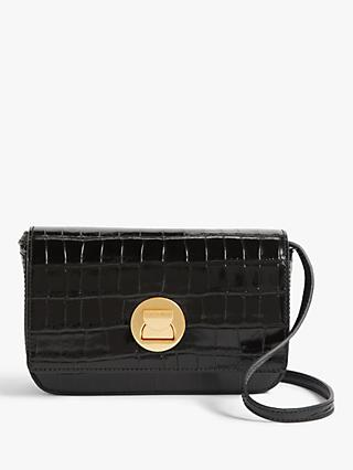Coccinelle Liya Croc-Embossed Leather Mini Bag
