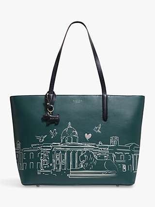 Radley London Leather Zip Top Tote Bag, Kale