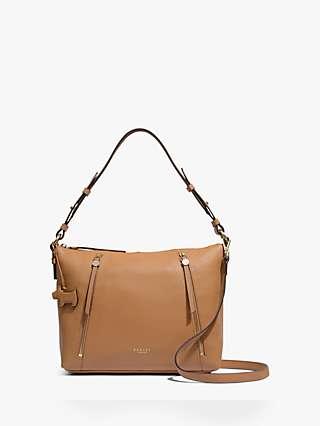 Radley Fountain Road Medium Leather Zip Top Shoulder Bag, Tan