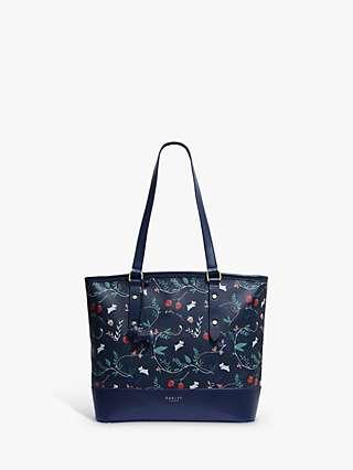 Radley Whimsical Floral Oil Skin Large Shoulder Tote Bag, Ink