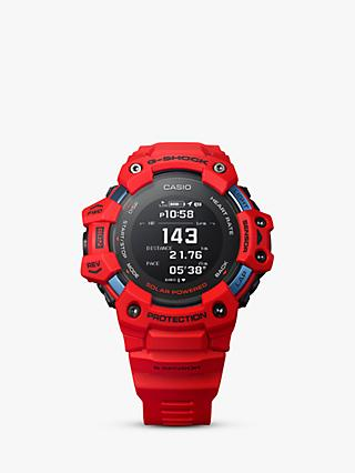 Casio GBD-H1000-4ER Men's G-Shock Heart Rate Monitor Resin Strap Watch, Red/Black